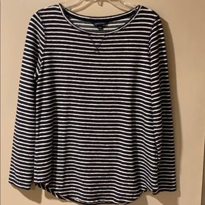 Lands' End Black and White Striped Top